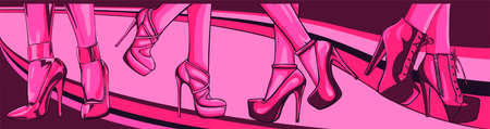 Vector girls in high heels. Fashion illustration. Female legs in shoes.