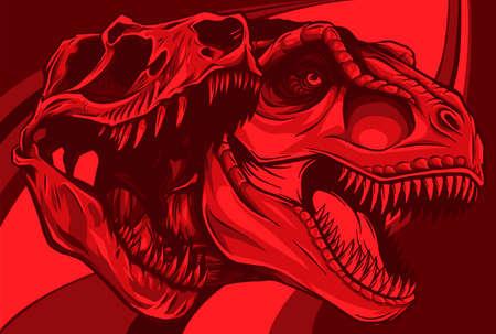 Tyrannosaurus rex with skull fossil vector illustration design 向量圖像