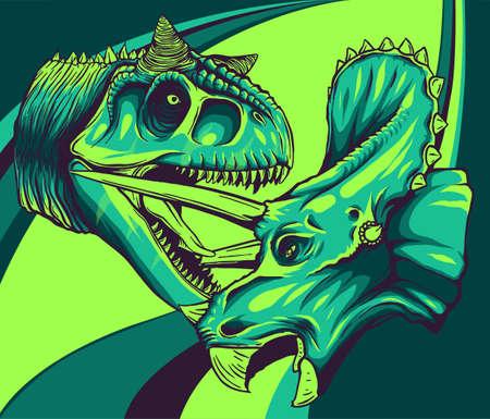 Vector tracing of dinosaur Tyrannosaurus is fighting Triceratops 向量圖像