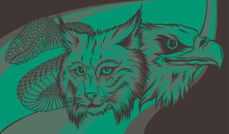 head Eagle with lynx and snake vector illustration 向量圖像