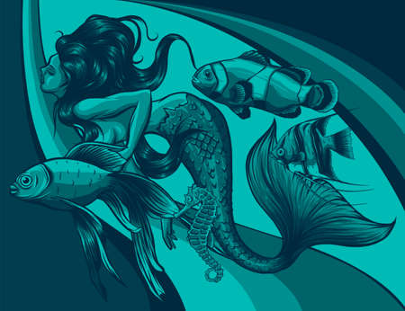 Mermaid, sea animals and seaweed on colored background 版權商用圖片