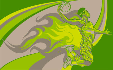 cartoon basketball player is moving dribble with flames