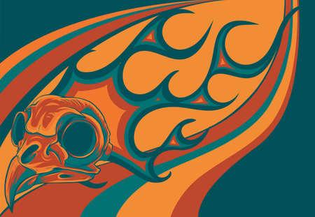 cartoon illustration of a bird skull with flames