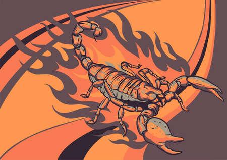 scorpion cartoon with flames vector illustration design