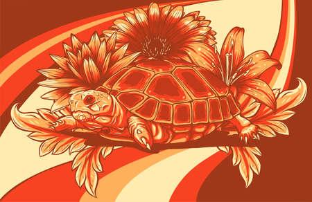 turtle with flower designs vector illustration art