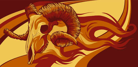 Skull Ram Side Flaming Set vector illustration 向量圖像