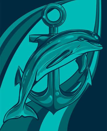 dolphin around an anchor vector illustration design