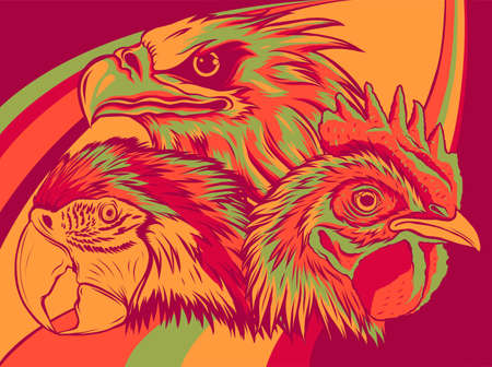 Eagle with parrot and rooster Design Vector illustration