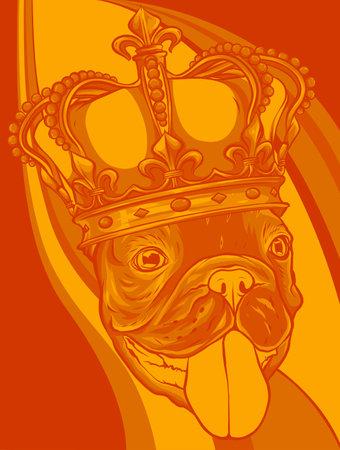 vector Dog illustration king in colored background