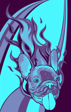 Bull Dog with Flames vector illustration design