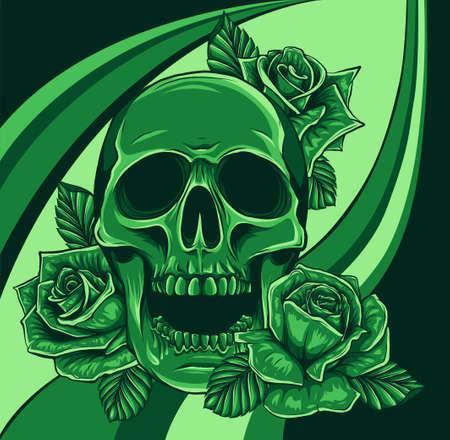 A human skulls with roses vector illustration Stock Illustratie