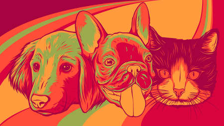 Cat and Dog characters. Best friend forever, vector illustration. Stock Illustratie