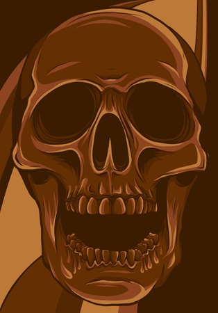 vector illustration of human skull in colored background