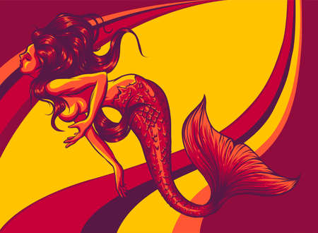 Beautiful mermaid on colored background illustration. vector