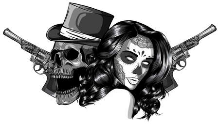Vector illustration monochromatic gangster with gun and woman Stockfoto