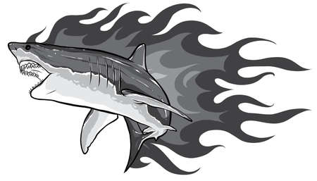 monochromatic shark with flames for tattoo or mascot design, such a logo template. 矢量图像