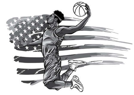 monochromatic Basketball Player on American Flag colors background 矢量图像