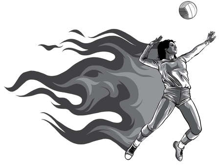 monochromatic Silhouette of volleyball player with flames. Vector.