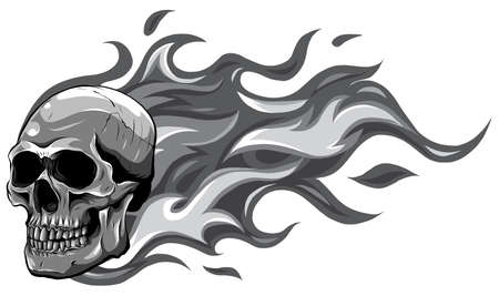 monochromatic Skull on Fire with Flames Vector Illustration 矢量图像