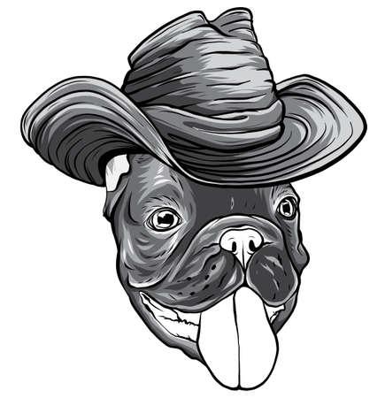 monochromatic a dog in a cowboy hat. vector illustration 矢量图像