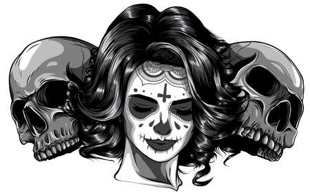 monochromatic Dead girl with two sugar skulls. vector 矢量图像