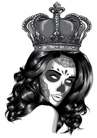 monochromatic Skull girl with a crown. Vector illustration design 矢量图像