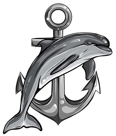 monochromatic dolphin around an anchor with a rope, an ancient symbol of the sea, vector illustration