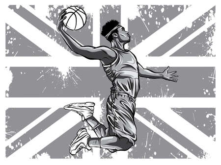 monochromatic Vector watercolor silhouette basketball player illustration art