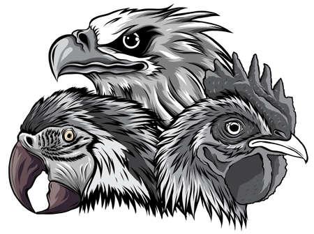 monochromatic Eagle Mascot Logo Design Vector Template illustration
