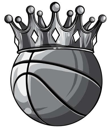 monochromatic Basketball King Crown. Sport Winner Icon, Emoji Style Illustration.