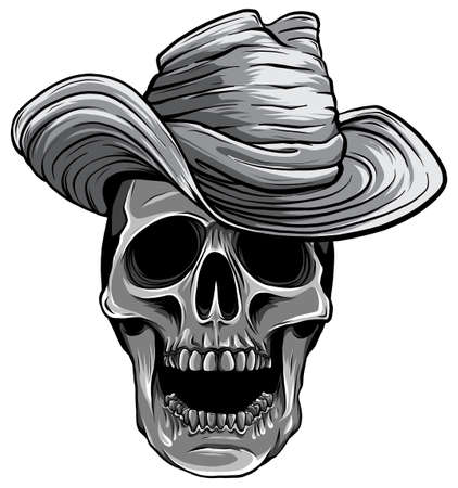 monochromatic Vector illustration of Cowboy skull with hat