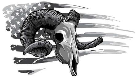 monochromatic ram goat logo icon design vector illustration 矢量图像