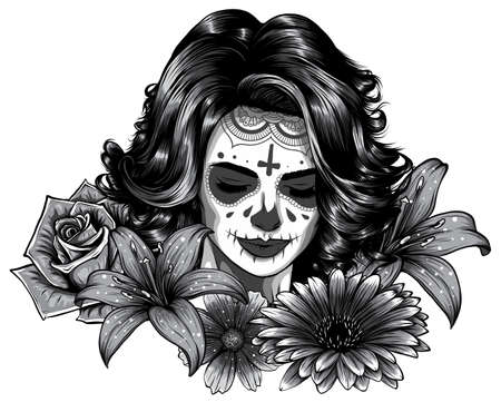 monochromatic Girl with skeleton make up hand drawn vector sketch. Santa muerte woman witch portrait stock illustration