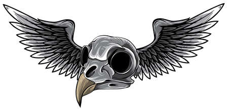 monochromatic bird skull with wings for tattoo design.
