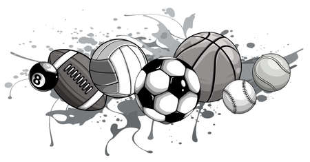 monochromatic Sport balls on water background. Vector illustration