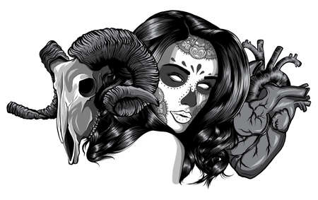 vector illustration of woman with goat skull and heart