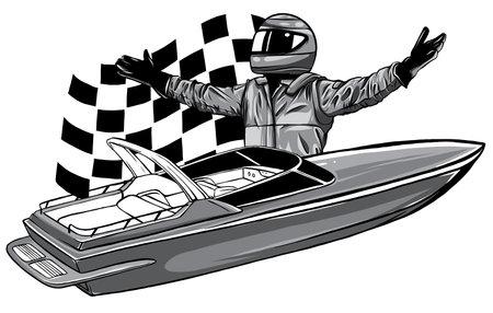 monochromatic Motor boat race Vector illustration design art