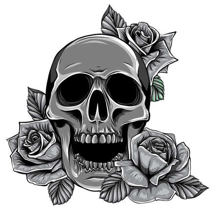 monochromatic Skull with flowers, with roses. Drawing by hand. Illustration