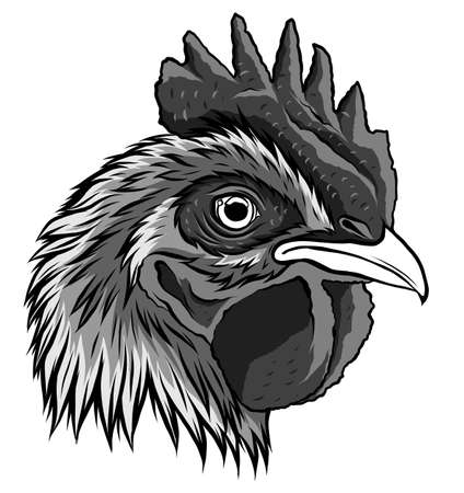 monochromatic vector mascot of rooster head illustration art 矢量图像
