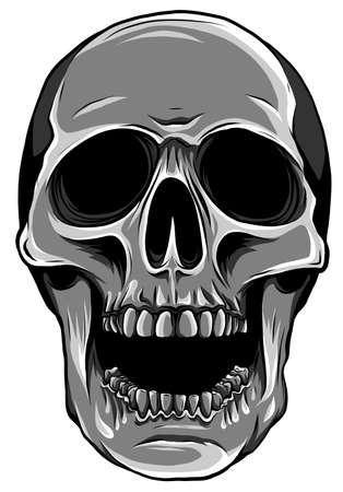 monochromatic Realistic red skull. vector Illustration for designer on a white background.