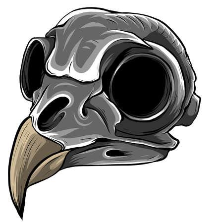 monochromatic Realistic red bird skull. vector Illustration for designer on a white background.