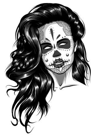 monochromatic Vector Black and White Skull Candy Girl Illustration