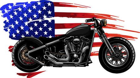 chopper motorcycle with american flag vector illustration Vektorgrafik