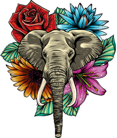 Vector illustration of head elephant with flower.