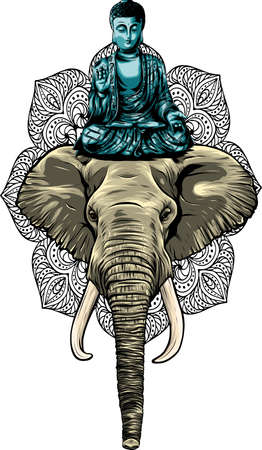 buddha statue above head of elephant vector