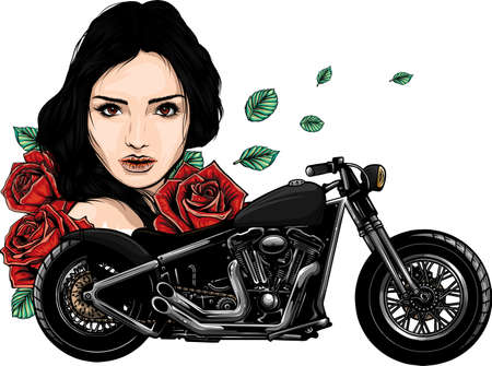 vector head girl with roses and motorcycle