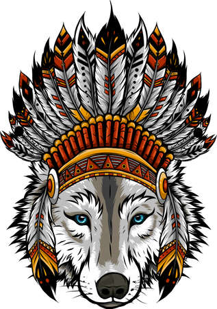 Indian wolf with feathers hat vector illustration 矢量图像