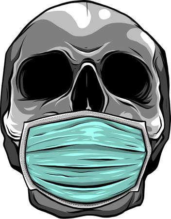 Skull face in medical face mask. vector 矢量图像
