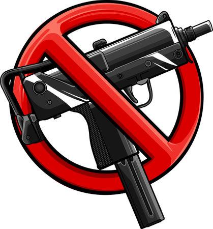 vector illustration no guns or firearms allowed 矢量图像
