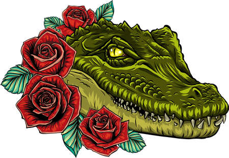 Vector illustration of crocodile head with roses
